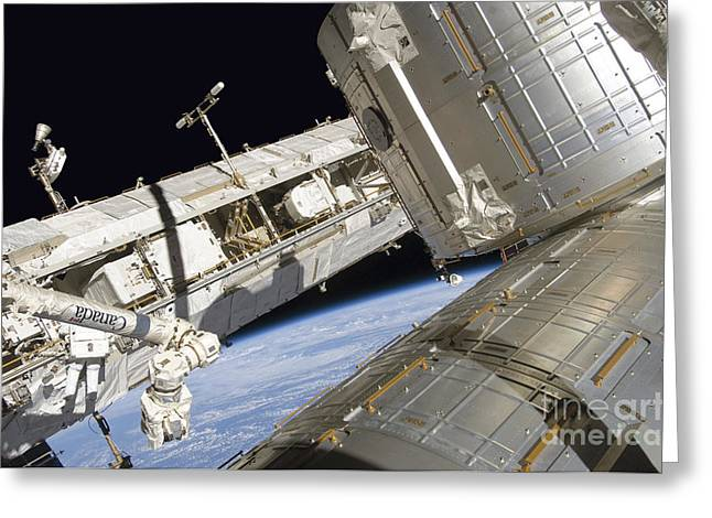 Maintenance Facility Greeting Cards - Astronaut Participates Greeting Card by Stocktrek Images