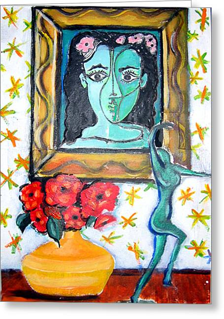 Statue Portrait Paintings Greeting Cards - I Sell Prints Greeting Card by Susan Stewart