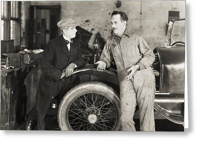 Ecwork Greeting Cards - Silent Film: Automobiles Greeting Card by Granger