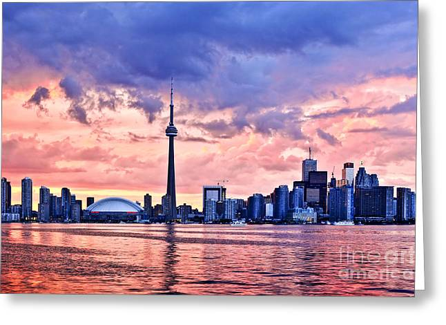 Toronto Sunset Skyline Greeting Card by Elena Elisseeva