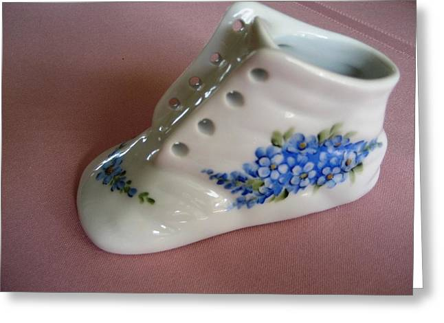 Forgotten Ceramics Greeting Cards - 1706 Baby Shoe blue  Greeting Card by Wilma Manhardt
