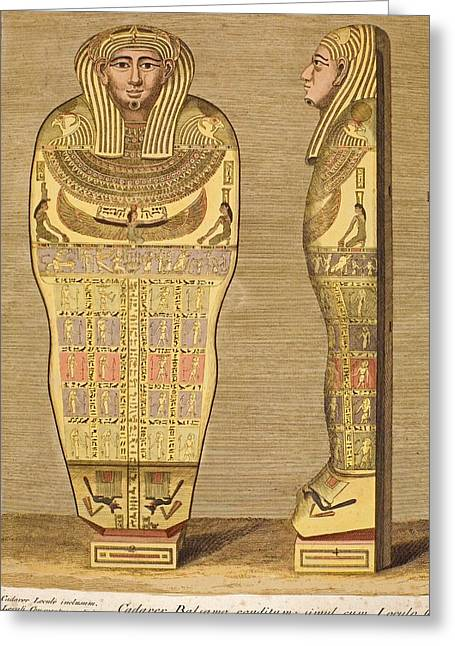 Egyptian Sarcophagus Greeting Cards - 1724 First British Museum Sarcophagus Greeting Card by Paul D Stewart