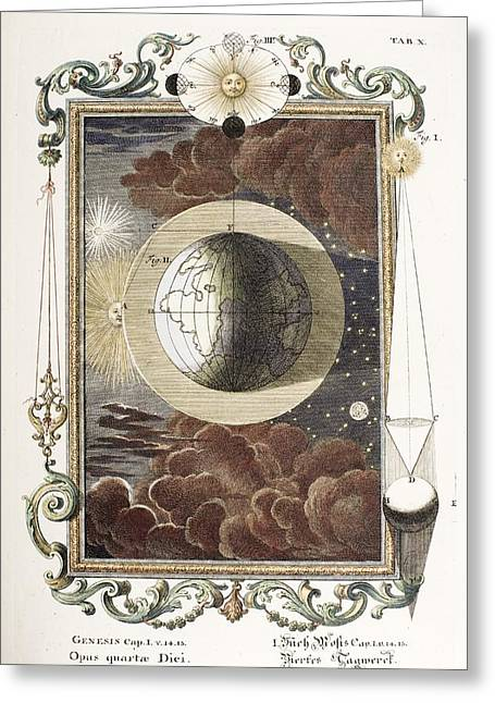 Creationism Greeting Cards - 1731 Johann Scheuchzer Creation 4th Day B Greeting Card by Paul D Stewart