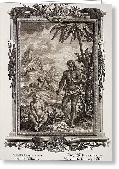 Creationism Greeting Cards - 1731 Johann Scheuchzer Hairy Esau Bible Greeting Card by Paul D Stewart