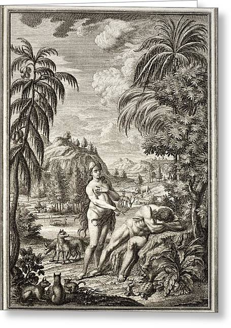 Creationism Greeting Cards - 1731 Scheuchzer Creation Adam & Eve Greeting Card by Paul D Stewart