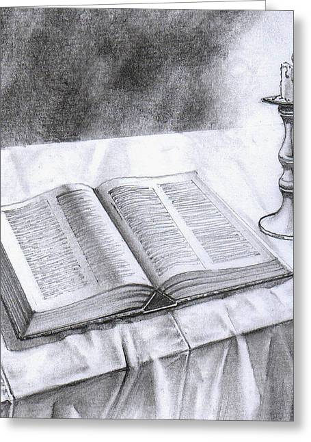 Table Cloth Drawings Greeting Cards - 174 Bible and Candlestick Featured Greeting Card by James Robinson