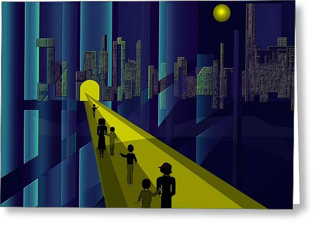 Little Boy Digital Art Greeting Cards - 178 - Nightwalking to the golden city    Greeting Card by Irmgard Schoendorf Welch