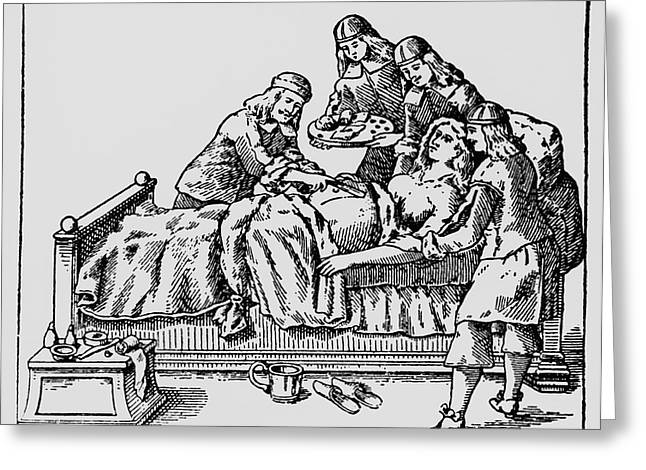 Historical Images Greeting Cards - 17th Century Caesarean Section Greeting Card by Dr Jeremy Burgess