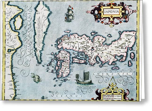 Distortion Greeting Cards - 17th Century Map Of Japan Greeting Card by Georgette Douwma
