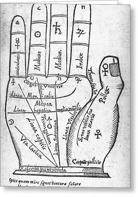 Palmistry Greeting Cards - 17th Century Palmistry Diagram Greeting Card by Middle Temple Library