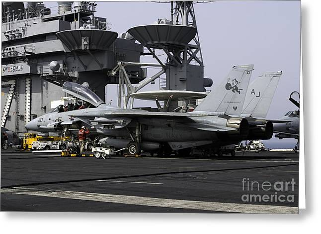 Superstructure Greeting Cards - An F-14d Tomcat On The Flight Deck Greeting Card by Gert Kromhout