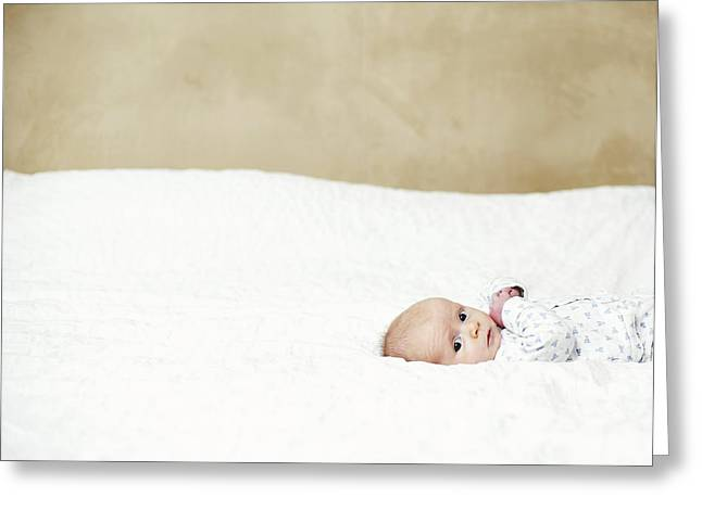 Pajamas Photographs Greeting Cards - Baby Boy Greeting Card by Ian Boddy