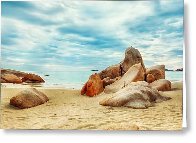 Panoramic Ocean Greeting Cards - Beach Greeting Card by MotHaiBaPhoto Prints