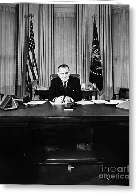 Oval Office Greeting Cards - Lyndon Baines Johnson Greeting Card by Granger