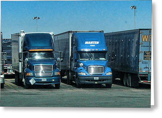 Transfer Greeting Cards - 18 Wheelers Greeting Card by Helaine Cummins