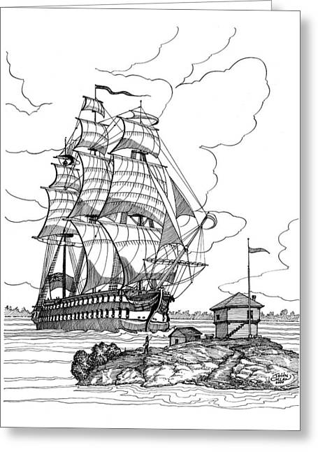 Tall Ships Mixed Media Greeting Cards - 1814 HMS St.Lawrence at Brockville Greeting Card by John Cullen