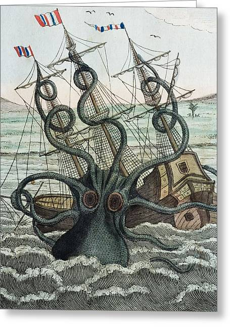 Giant Squid Greeting Cards - 1815 Collosal Polypus Octopus And Ship Greeting Card by Paul D Stewart