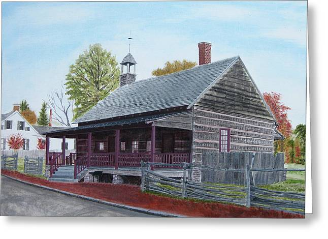 Old House Photographs Paintings Greeting Cards - 1823 historical African Moravian Log Church in old salem of NC  Greeting Card by Jason Zhang