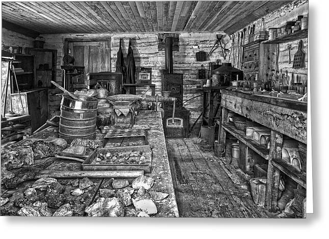 Miners Greeting Cards - 1860s ORE ASSAY OFFICE SHOP - MONTANA Greeting Card by Daniel Hagerman