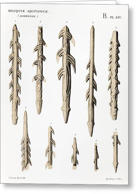 Upper Paleolithic Greeting Cards - 1863 Lartet Prehistoric Barbed Harpoons Greeting Card by Paul D Stewart