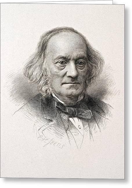 Moa Greeting Cards - 1880 Sir Richard Owen Engraved Portrait Greeting Card by Paul D Stewart