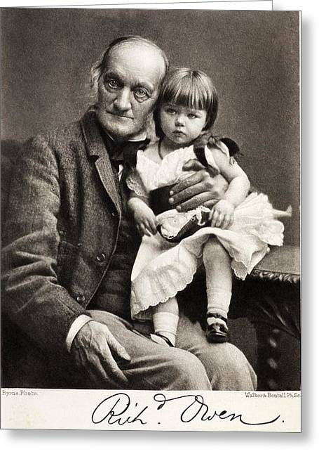 Moa Greeting Cards - 1880s Sir Richard Owen And Grandaughter Greeting Card by Paul D Stewart