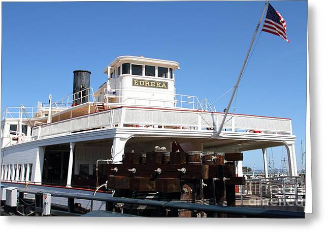 Steamboat Greeting Cards - 1890 Steam Ferryboat Eureka At The Hyde Street Pier in San Francisco California . 7D14120 Greeting Card by Wingsdomain Art and Photography