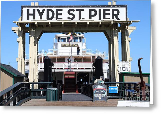 Steamboat Greeting Cards - 1890 Steam Ferryboat Eureka At The Hyde Street Pier in San Francisco California . 7D15115 Greeting Card by Wingsdomain Art and Photography