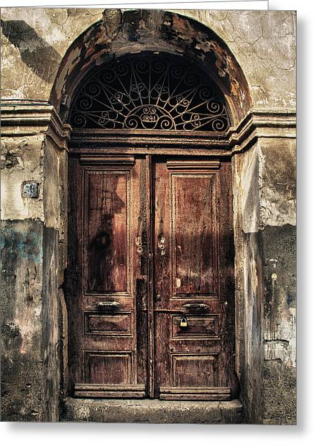 Vintage Wall Greeting Cards - 1891 Door Cyprus Greeting Card by Stylianos Kleanthous