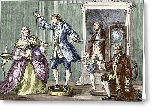 Human Spirit Greeting Cards - 18th Century Electrical Experiment Greeting Card by Sheila Terry