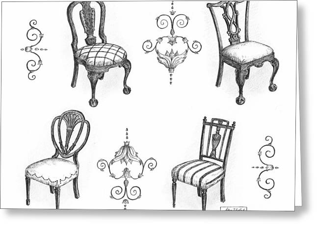 Pen And Paper Drawings Greeting Cards - 18th Century English Chairs Greeting Card by Adam Zebediah Joseph