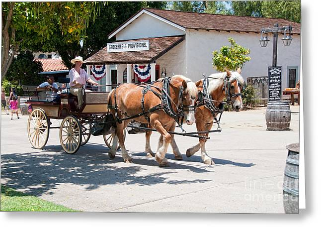 Horse And Buggy Greeting Cards - Old Town San Diego Greeting Card by Carol Ailles