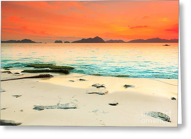 Amazing Sunset Greeting Cards - Seascape Greeting Card by MotHaiBaPhoto Prints