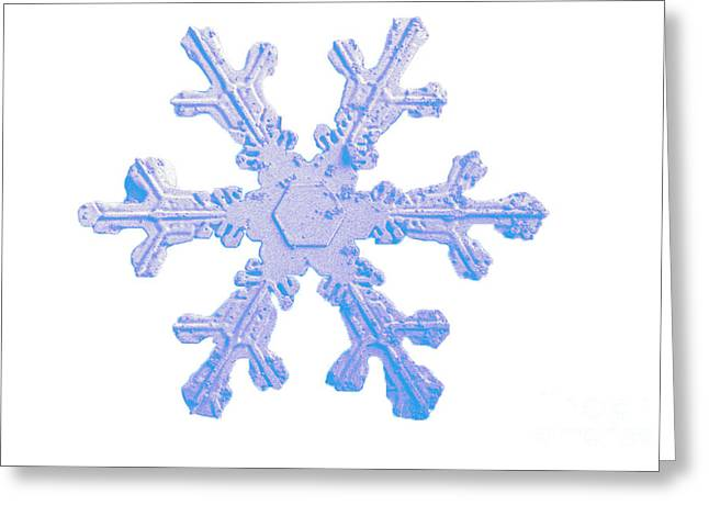 Wintry Greeting Cards - Snow Crystal Greeting Card by Science Source