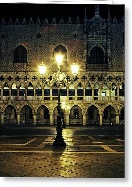 Night Lamp Greeting Cards - Venezia Greeting Card by Joana Kruse