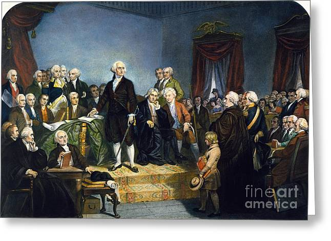 Oath Of Office Greeting Cards - Washington: Inauguration Greeting Card by Granger