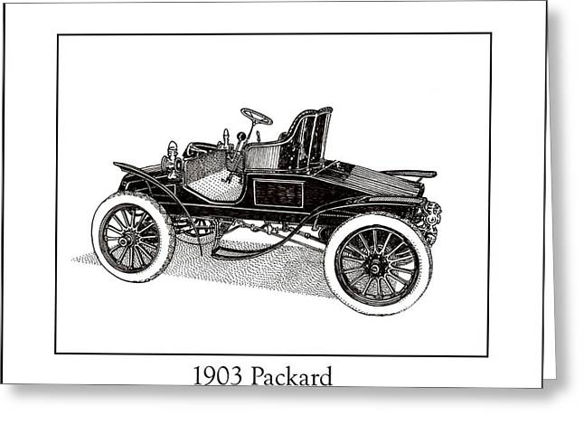 Pen And Ink Framed Prints Greeting Cards - 1903 Packard Greeting Card by Jack Pumphrey