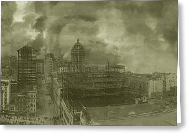 St Francis Hotel Greeting Cards - 1906 San Francisco Earthquake Fire Greeting Card by Library of Congress