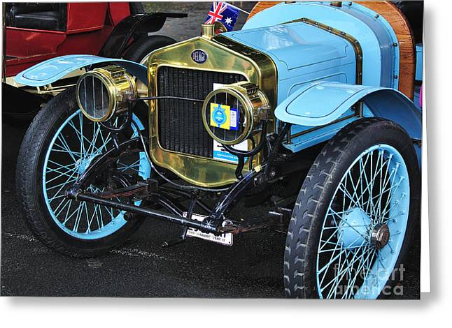 Spokes Greeting Cards - 1909 Delage Model F - Vintage Car Greeting Card by Kaye Menner