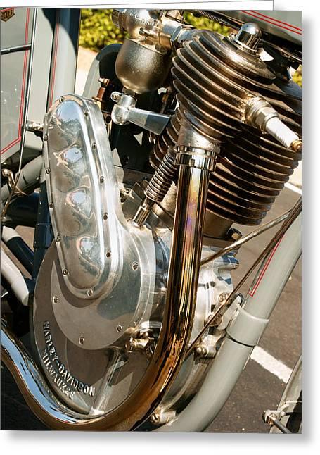 Motorcycle Engines Greeting Cards - 1910 Harley Davidson 6A Greeting Card by Marley Holman