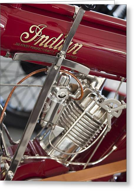 Belt Driven Greeting Cards - 1911 Indian Belt Drive Motorcycle 2 Greeting Card by Jill Reger