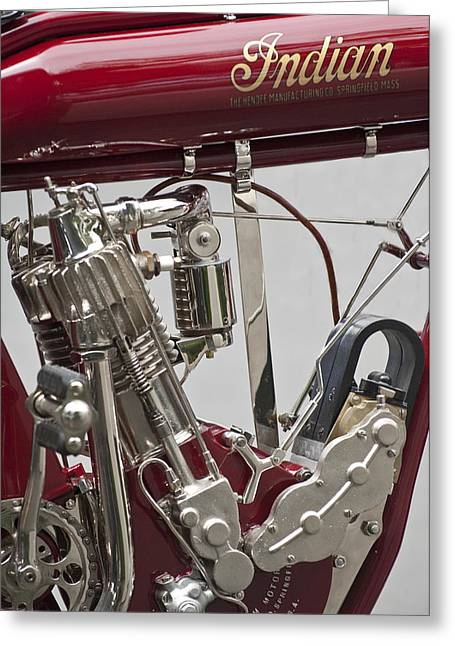 Belt Driven Greeting Cards - 1911 Indian Belt Drive Motorcycle Greeting Card by Jill Reger