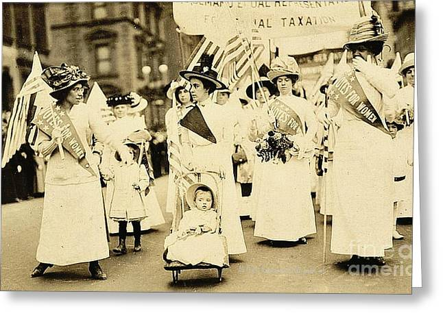 Political Rally Greeting Cards - 1912 New York City Suffrage Parade Greeting Card by Padre Art