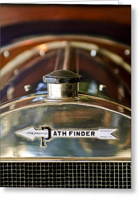 Pathfinder Greeting Cards - 1913 Pathfinder 5-Passenger Touring Hood Ornament Greeting Card by Jill Reger