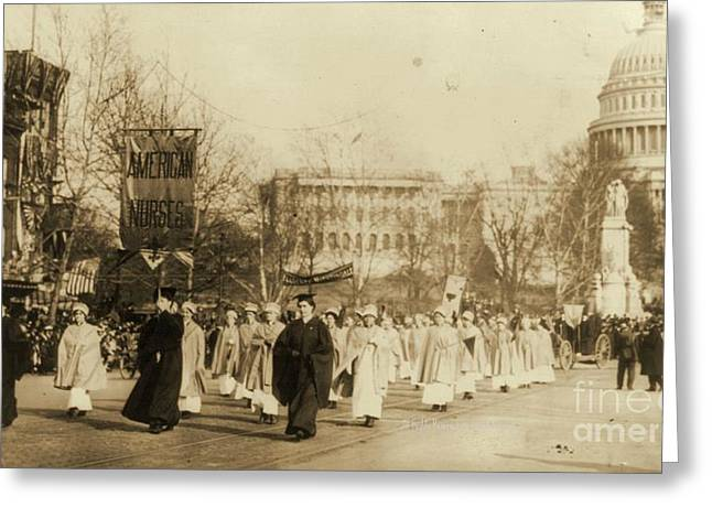 Political Rally Greeting Cards - 1913 Suffragette Parade in Washington D.C. Greeting Card by Padre Art