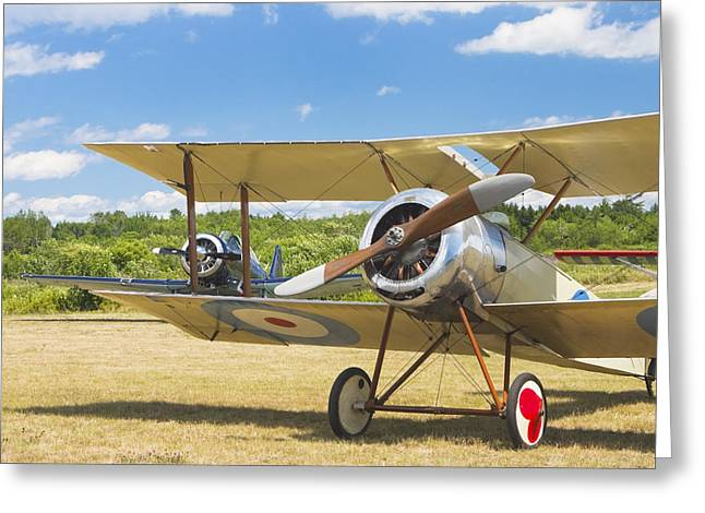 Airfield Greeting Cards - 1916 Sopwith Pup Biplane On Airfield Canvas Photo Poster Print Greeting Card by Keith Webber Jr