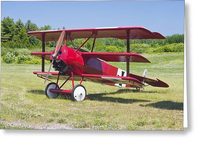 Fokker Dr-1 Greeting Cards - 1917 Fokker Dr.1 Triplane Red Barron Canvas Photo Print Poster Greeting Card by Keith Webber Jr