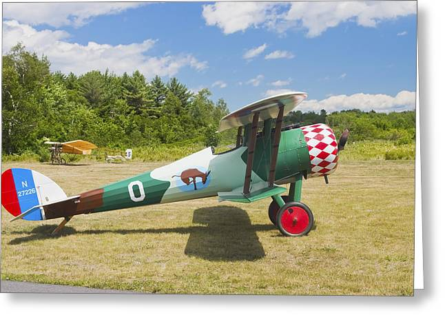 Airfield Greeting Cards - 1917 Nieuport 28C.1 Antique Fighter Biplane Canvas Photo Poster Print Greeting Card by Keith Webber Jr
