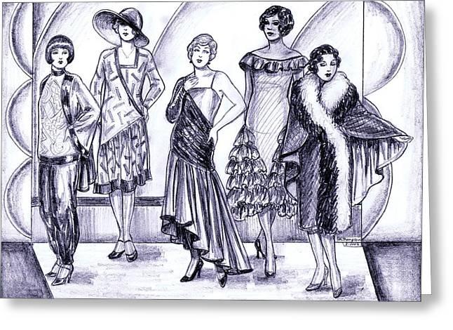 Pajamas Greeting Cards - 1920s British Fashions Greeting Card by Mel Thompson