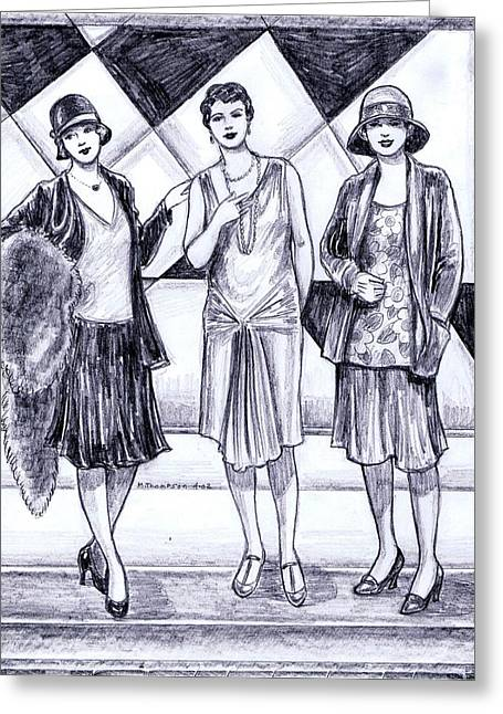 Satin Skirt Greeting Cards - 1920s Styles Greeting Card by Mel Thompson